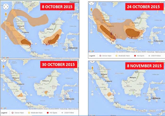 Karte-Rauch Indonesiens Waldbrände: Monsumregen, El Niño und der Kampf der Regierung Energie und Wasser Umwelt